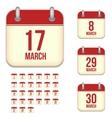 March calendar icons vector image vector image