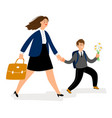 mother with son going in school boy bring flowers vector image