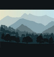 mountains and forest landscape early in a vector image