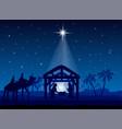 nativity scene christmas star on blue sky and vector image