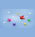 origami made colorful paper bird flying on blue vector image vector image