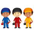 Plumbers wearing different color outfit vector image vector image