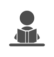 read book man flat icon pictograph isolated vector image vector image