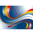 Red and yellow curved stripes on a blue background vector image vector image