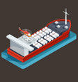 red barge with barrel for transportation oil vector image vector image