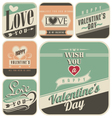 Retro labels for Valentines Day vector image vector image