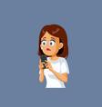 sad woman phone checking smartphone vector image