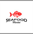 seafood logo modern red fish silhouette vector image vector image