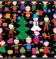 seamless background of joyful kids with christmas vector image
