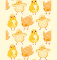 seamless pattern with cute hand-drawn chicken on a vector image vector image