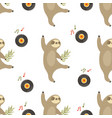 seamless pattern with funny dancing sloths vector image vector image