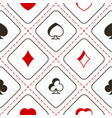 seamless pattern with playing cards symbols vector image vector image