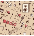 Semless background with sketch music elements vector image vector image