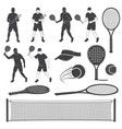 set of tennis and paddle tennis equipment vector image vector image