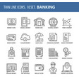 set of thin line flat icons banking vector image