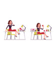 set of young secretary sitting at on the office vector image vector image