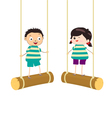 Two kidsl swinging on swings vector image vector image