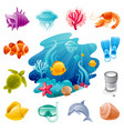 underwater animals life and diving icons sea vector image