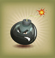 vintage angry bomb character vector image vector image