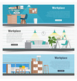 Web Banner set Office workplace interior design vector image vector image