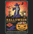 wizard witch and halloween pumpkin on graveyard vector image vector image