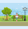 young woman works in park with computer vector image vector image