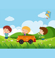 happy children playing toy car in the park vector image