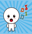 kawaii character cartoon music note vector image