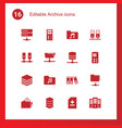 16 archive icons vector image vector image