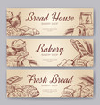 bakery banners hand drawn cooking bread bakery vector image vector image