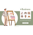 banner business with linear icons set vector image vector image