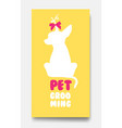 business card template of pet grooming with little vector image