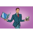 Businessman selling laptops vector image vector image