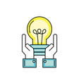 businessman with bulb idea with hands up vector image