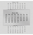 calendar month for 2016 pages March start Monday vector image vector image