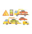 car evacuation set road assistance service help vector image vector image