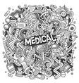 cartoon cute doodles hand drawn medical vector image vector image