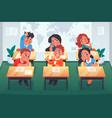 children in classroom cartoon primary school vector image