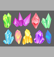 colorful minerals set crystals gems precious vector image