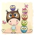 Cute Cartoon Boy Owls vector image
