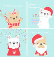 cute funny french bulldog christmas banner card vector image vector image