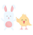 cute rabbit and chick characters vector image vector image