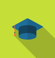 Flat icon graduation cap with long shadow style vector image vector image