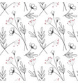 flowers seamless pattern leaves vector image vector image
