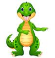 funny crocodile cartoon pointing vector image