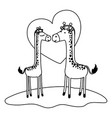 giraffes couple over grass in black sections vector image vector image