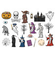 halloween ghost witch mummy and pumpkin icons vector image vector image