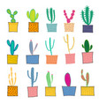 hand drawn cactus in pots vector image vector image