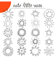 Hand drawn cute little suns Doodle set vector image vector image