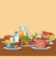 healthy food cartoon vector image vector image